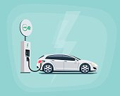 Flat vector illustration of a white electric car charging at the charger station with road sign. Electromobility eco e-motion concept. Electric car charging on pastel turquoise background.