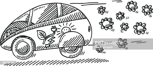 Illustrative Image Of Electric Car And Plug Representing Go Green