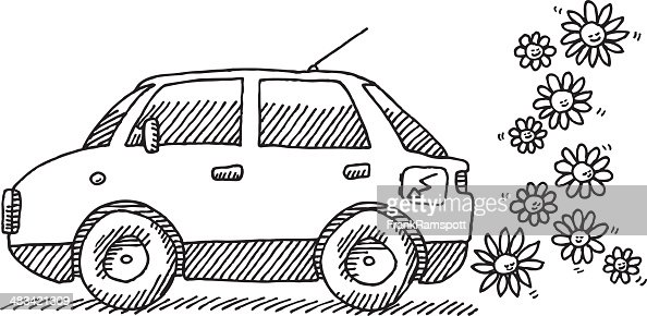 Electric Car Flowers Drawing Vector Art Getty Images