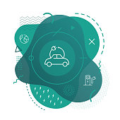 Electric car icon background