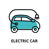 Modern flat thin line design icon, vector illustration, infographic concept of alternative energy. Electric car icon for graphic and web design