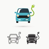 This is a vector illustration of electric car icon