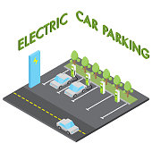 Electric car parking concept, isometric vehicle charging station isolated vector