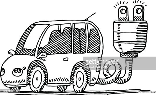 Fast Electric Car Drawing Vector Art Getty Images