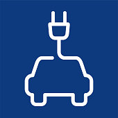 Electric car symbol, line vector icon isolated on blue background