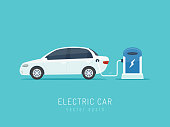 White modern electric car on charging station vector illustration in flat style