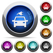 Electric car with connector icons in round glossy buttons with steel frames