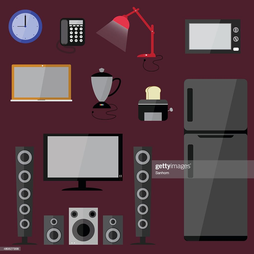 electric electronics set  household equipment vector : Vector Art
