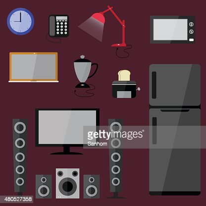 electric electronics set  household equipment vector : Vector Art