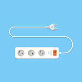 Electric extension cord flat illustration. eps 10