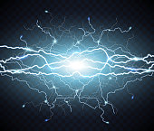 Electric flash of lightning. light thunder
