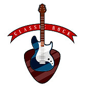 Electric guitar with a pick guitar and ribbon. Classic rock music style. Vector illustration design