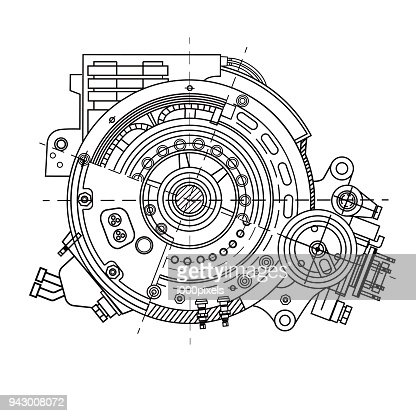 Electric motor section representing the internal structure and mechanisms. It can be used to illustrate the ideas related to science, engineering design and high-tech : stock vector
