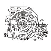 Electric motor section representing the internal structure and mechanisms. It can be used to illustrate the ideas related to science, engineering design and high-tech. Blueprint