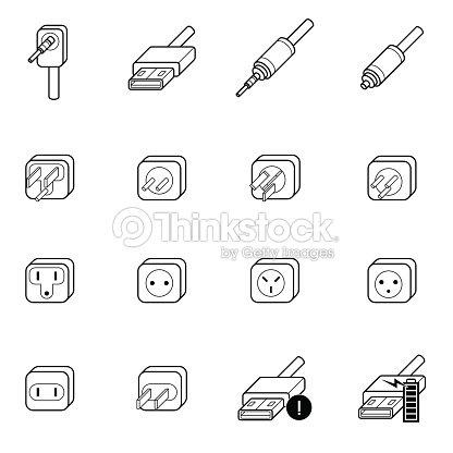 Electric Outletcable Wire And Plug Icon stock vector