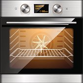 Electric oven in stainless steel and glass. Electronic control.