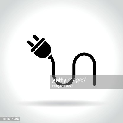 electric plug icon on white background : stock vector