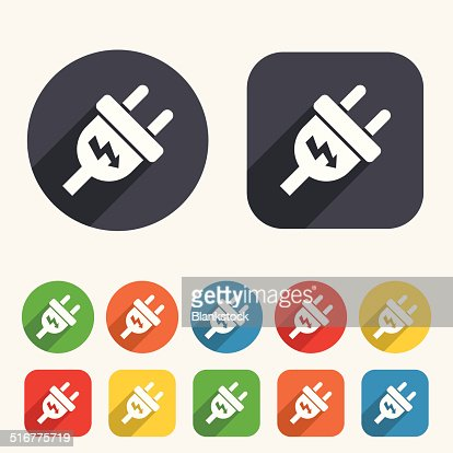 Electric Plug Sign Icon Power Energy Symbol Vector Art Thinkstock