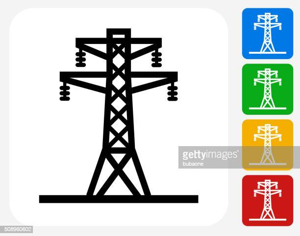 Electric Tower Icon Flat Graphic Design