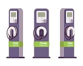 Electric vechle charging station from different positions isolated against white background. Cartoon vector flat-style illustration