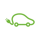 Electric vehicle car icon.