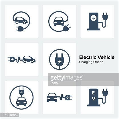 Electric Vehicle Charging Station Icons Set : stock vector