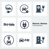 Electric Vehicle Charging Station Icons Set, vector illustration