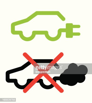 Electric Vs Fuel Car Parking Icon Vector Art Getty Images