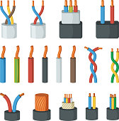 Electrical cable wires, different amperage and colors. Vector illustrations in cartoon style. Connection cable power colored for network and electricity