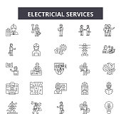 Electricial services line icons, signs set, vector. Electricial services outline concept illustration: Top 49 Keywords:,electric,electro,web,deinstallation,copy,power