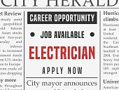 Electrician career - job classified ad vector in fake newspaper.