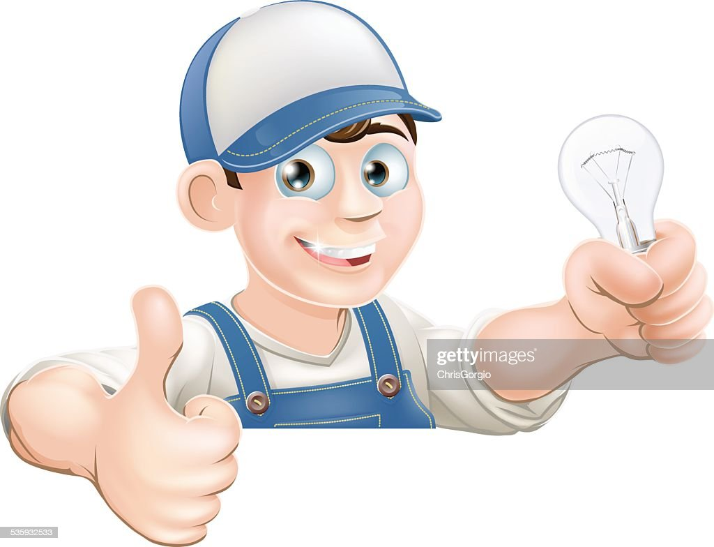Electrician giving thumbs up : Vector Art