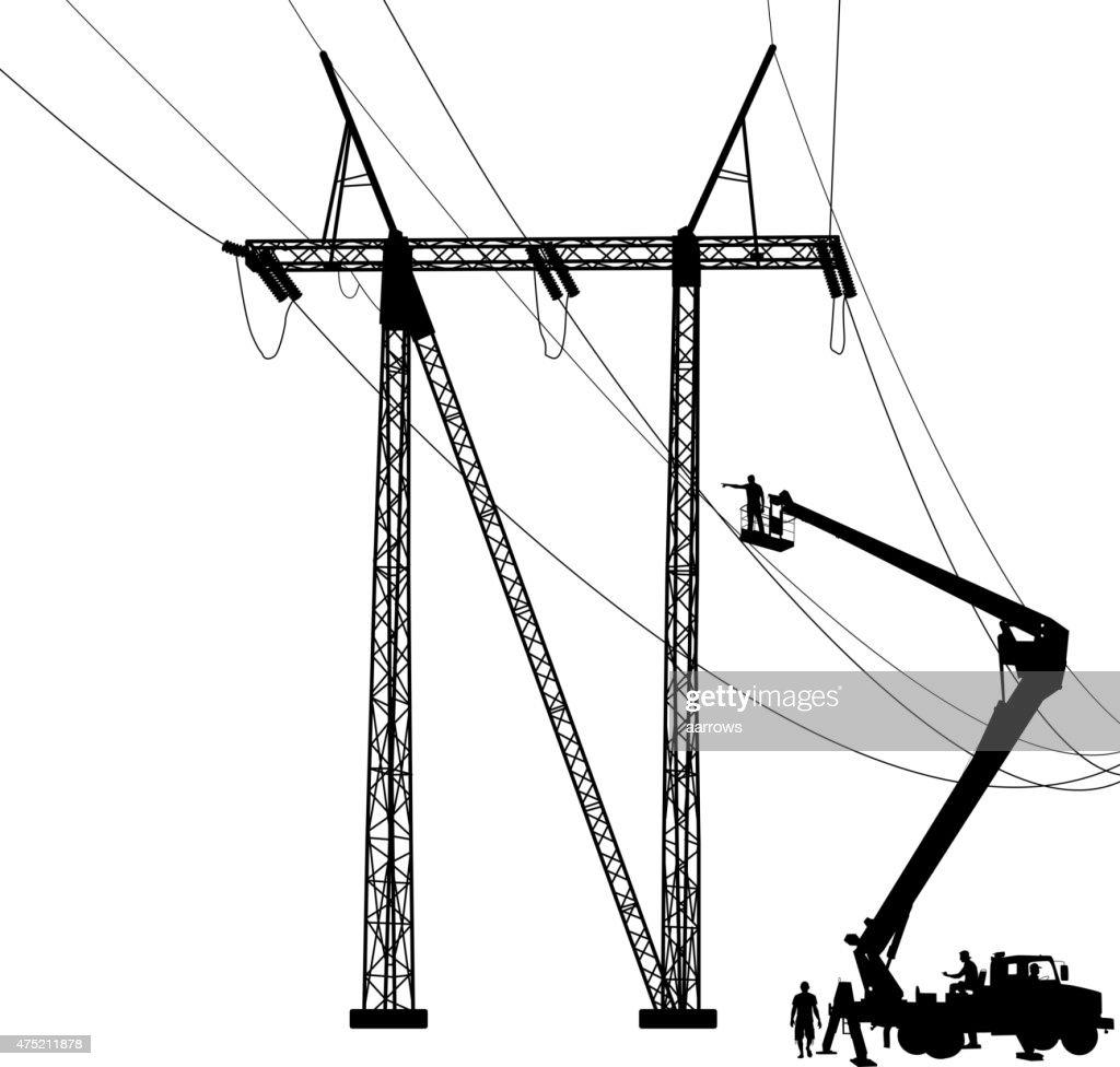 Power Pole Wire Clip Art Center Seven Segment Circuit Electrocircuit Schema Datasheet Electrician Making Repairs At A Vector Thinkstock Rh Thinkstockphotos Com Lineman