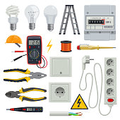 Set of professional electrician tools. Pliers for stripping wire or pliers, wire cutters and screwdrivers, multimeter or digital clamp meter, electrical tape. Electrician icons set vector stairs, bulb