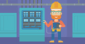A hipster man in helmet measuring the voltage output vector flat design illustration. Horizontal layout.