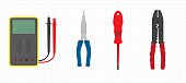 Set of basic electrician's tools - Multimeter, Pliers, Screwdriver, Wire Strippers