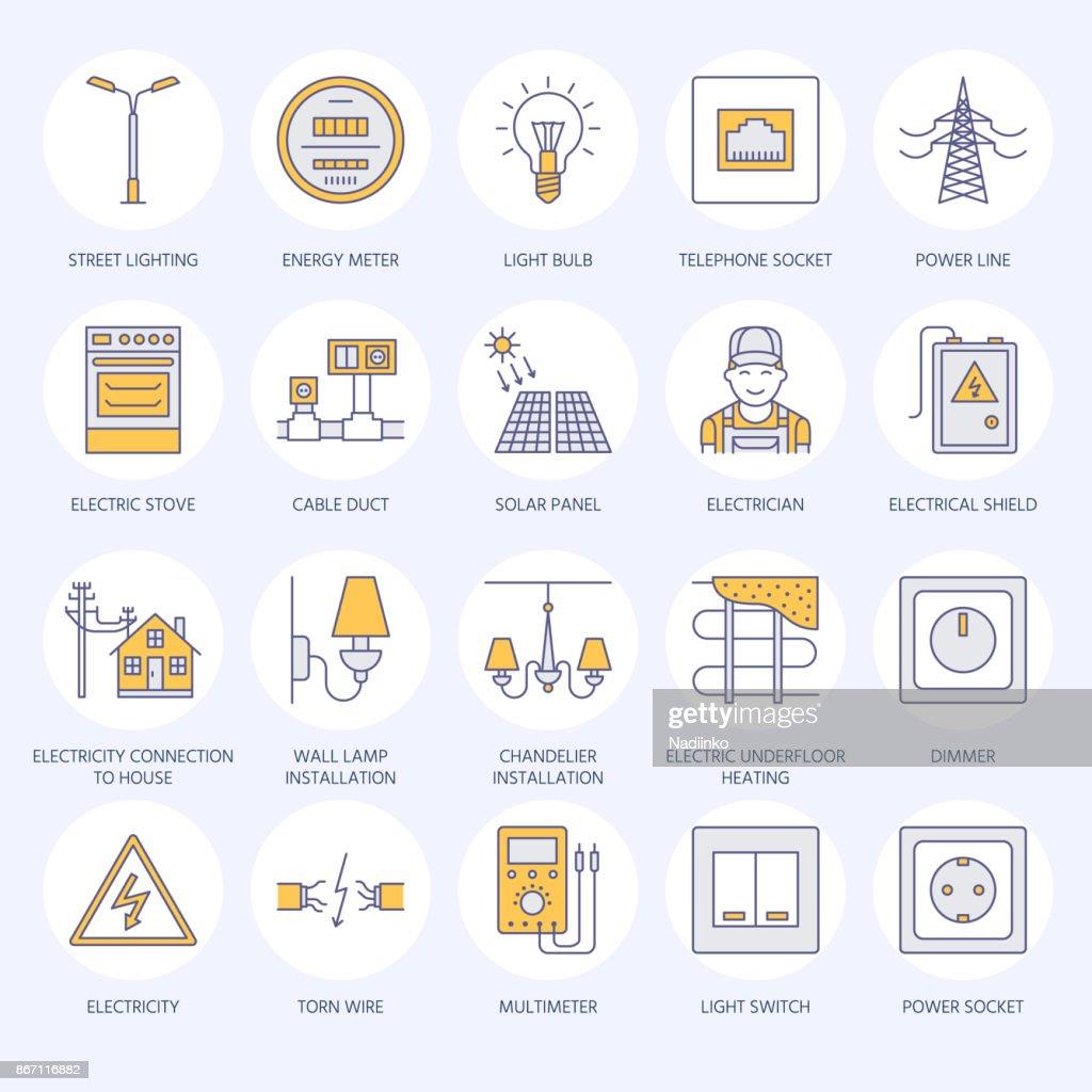 House Wiring Art Expert Schematics Diagram Epiphonelespaulstudiowiring Les Paul Studio Http Www Electricity Engineering Vector Flat Line Icons Electrical Equipment Tester
