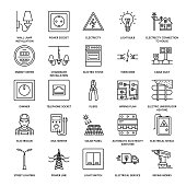 Electricity engineering vector flat line icons. Electrical equipment, power socket, torn wire, energy meter, lamp, wiring design, multimeter. Electrician services signs, house repair illustration.