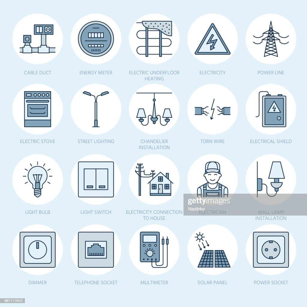 House Wiring Art Circuit Diagram Resource Electricity Engineering Vector Flat Line Icons Electrical Equipment Rh Thinkstockphotos In