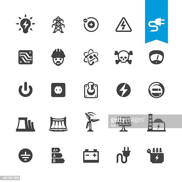 Electricity related vector icons