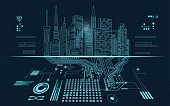 abstract technology background; digital building in a matrix style; technological city combined with electronic board