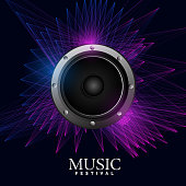 electro music poster with speaker and abstract lines