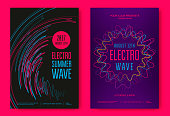 Electro summer wave music poster. Club music flyer. Abstract colored waves music background.