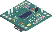 Electronic board isometric composition.Technology Equipment Device Concept.