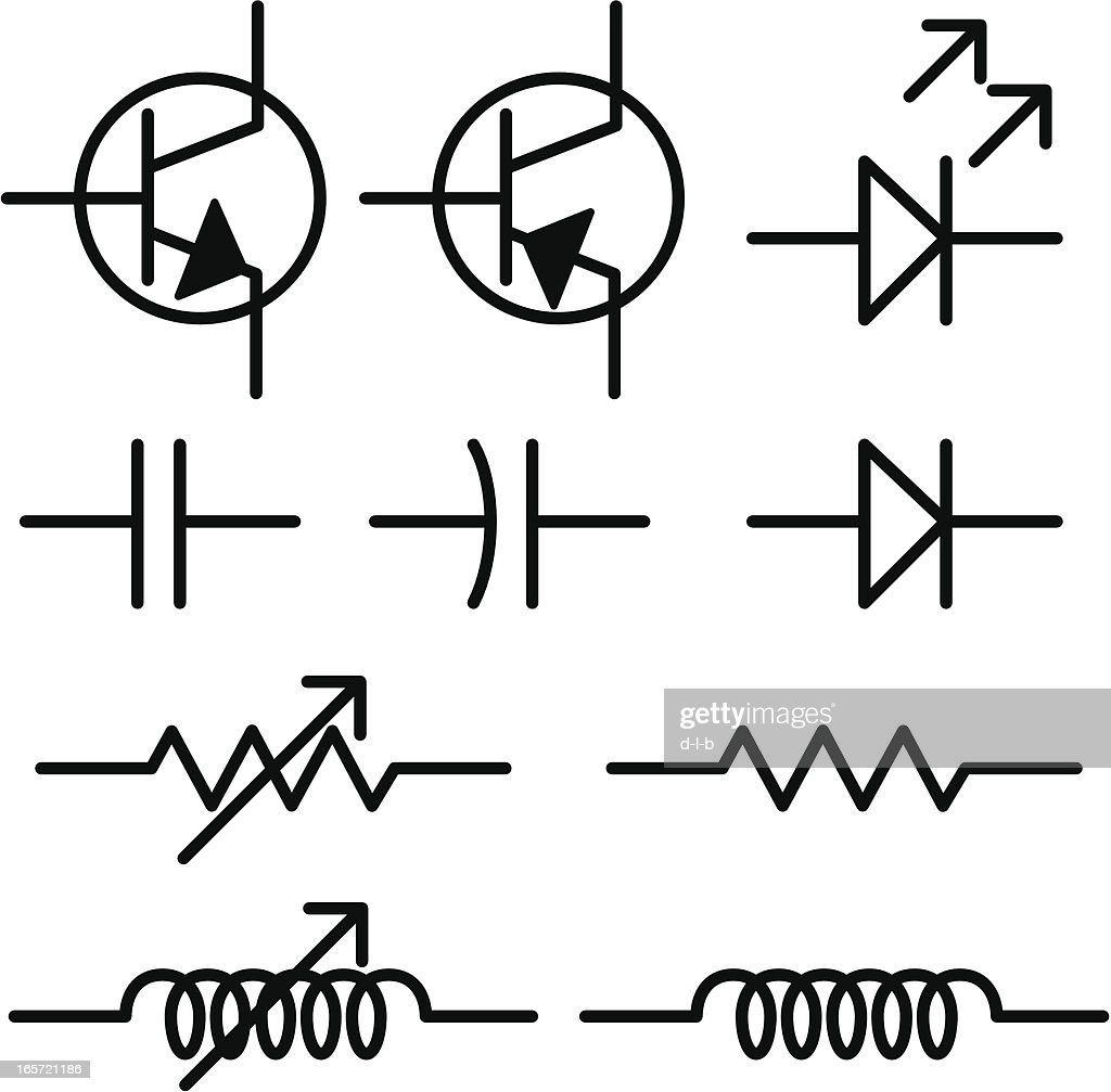 electronic circuit schematic symbols vector art getty images. Black Bedroom Furniture Sets. Home Design Ideas