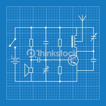 Electronic Circuit Scheme Blueprint Background Vector Art | Thinkstock