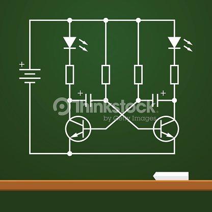 Electronic Circuit Scheme On Chalk Board Background Vector Art ...