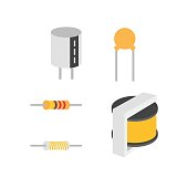 Electronic components, Vector of icons by EPS10.
