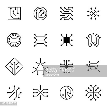 Electronic computer chip circuit and motherboard equipment vector icons : stock vector