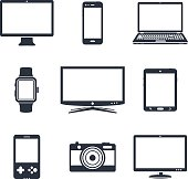Set of electronic device icons. Vector illustration.